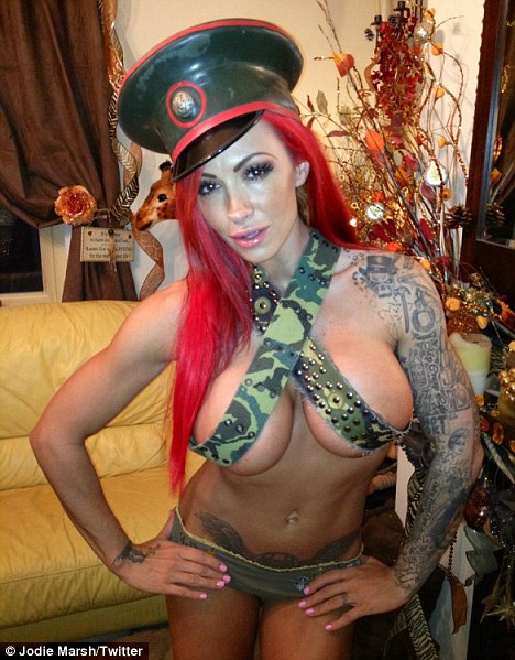 jodie marsh in belts and giving the money to charity.