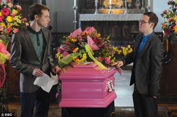 ben reading speetch at heater trotts funeral in Bastenders bbc