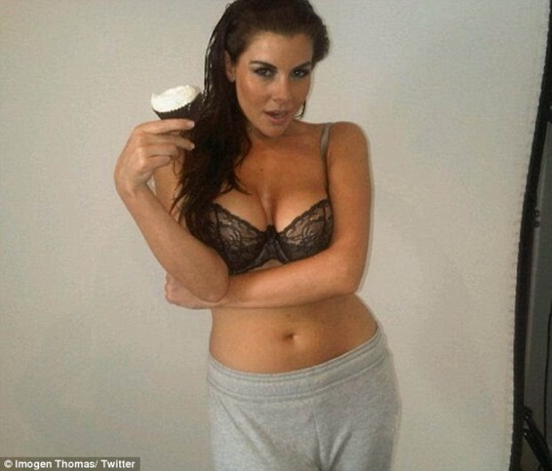 Imogen Thomas Tweets Photo of Herself Near Naked Holding A Cup Cake On Twitter!