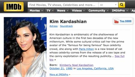 Kim Kardashian's IMDB Profile Gets A Nasty Make Over