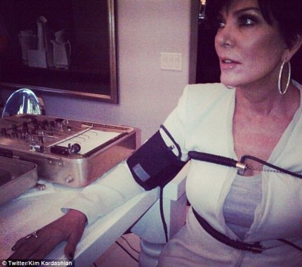 Kim Kardashian Tweets Photo Of Mother Kris Jenner Hooked Up To Lie Detector