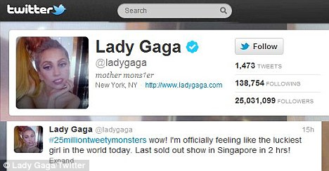 Lady Gaga Becomes The First Ever Person To Pass The 25 Million Followers Mark On Twitter