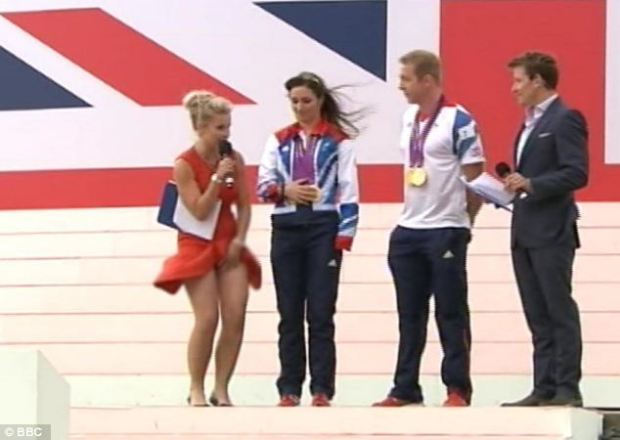 Blue Peter's Helen Skelton Skirt Blows Up While Presenting The Games Parade