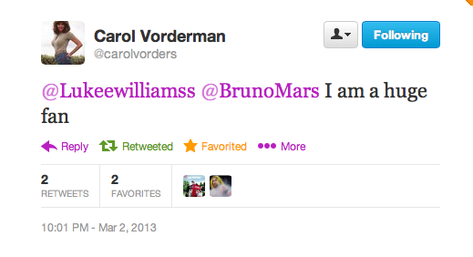 carol vorderman tweets luke williams gossip bruno mars