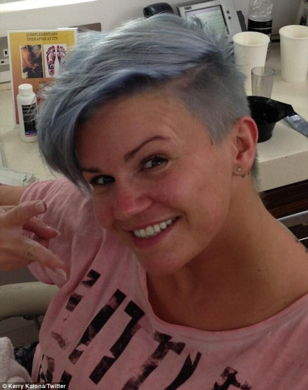Kerry Katona Dyes Her Bleach Blonde Hair Blue