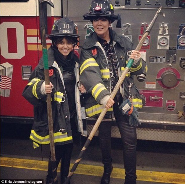 Kris Jenner and Kourtney Kardashian Dress Up As Firemen In New Instagram Pic