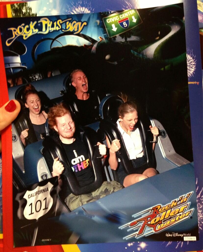 Taylor swift and ed sheeran go to disneyland with friends luke