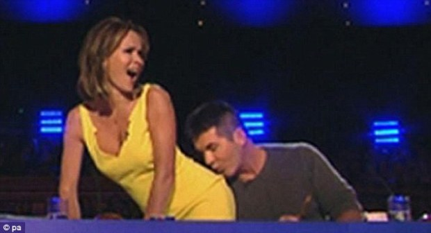 Simon Cowell Kisses Amanda Holden's Bum On Britain's Got Talent