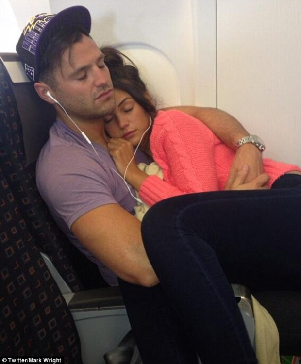 Michelle Keegan and Mark Wright Cuddle Up On Flight!