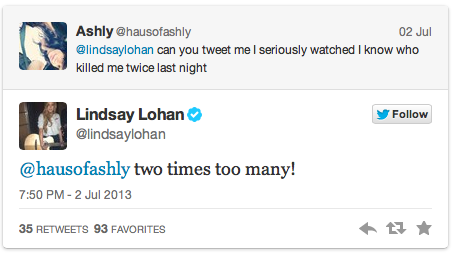 Lindsay lohan talks her own movie on twitter lukewilliamsgossip.com